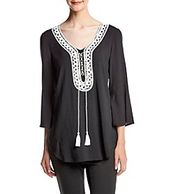 Spense® Embroidered Neckline Top