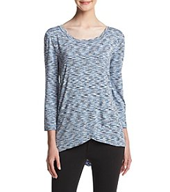 Cupio Marled Wrap Front Top