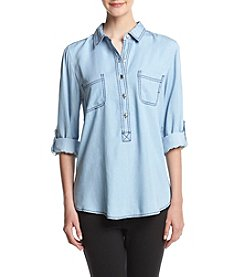 Cupio Roll Tab Sleeve Denim Shirt