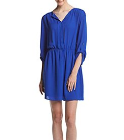Cupio Solid Split Neck Placket Dress