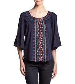 Cupio Embroidered Ruffled Peasant Top
