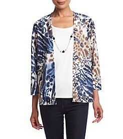 Alfred Dunner® Animal Print Layered Look Knit Top