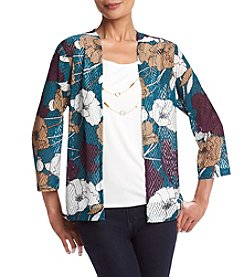 Alfred Dunner® Floral Print Layered Look Knit Top