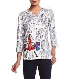 Alfred Dunner® Scenic Print Knit Top