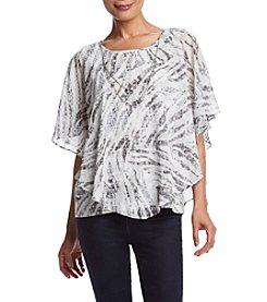 Alfred Dunner® Veneto Valley Animal Print Flutter Sleeve Woven Top