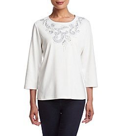 Alfred Dunner® Veneto Valley Patch With Scroll Yoke Knit Top