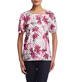 Alfred Dunner® Veneto Valley Floral Diagonal Ruffle Knit Top