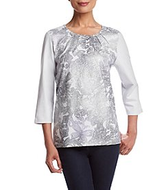 Alfred Dunner® Veneto Valley Paisley Lace Shimmer Knit Top