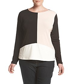 Calvin Klein Plus Size Color Block Top