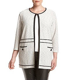 Kasper® Plus Size Textured Sweater Jacket With Piping