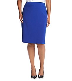 Nine West® Plus Size Solid Stretch Crepe Skirt