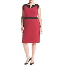 Nine West® Plus Size Taylor Stretch Color Block Sheath Dress