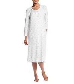 Miss Elaine® Printed Waffle Knit Nightgown