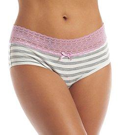 Relativity® Cotton Spandex Lace Waist Hipster