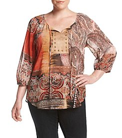 Laura Ashley® Plus Size Collage Print Top