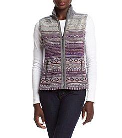 Ruff Hewn Petites' Stripe Sweater Front Polar Fleece Vest
