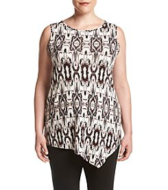 Ruff Hewn GREY Plus Size Deconstructed Print Asymmetrical Tank