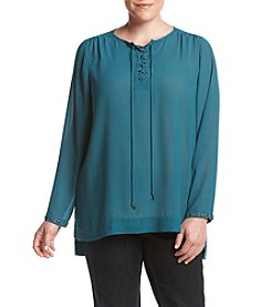 Ruff Hewn GREY Plus Size Lace-Up Grommet Top