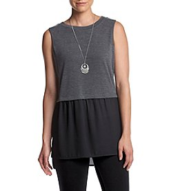 AGB® Knit Tank With Woven Hem With Necklace