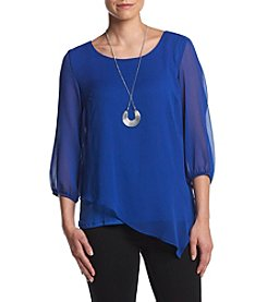 AGB® Asymmetrical Popover Top With Necklace