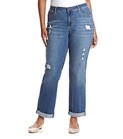 Earl Jean® Plus Size Destructed Boyfriend Denim Jeans