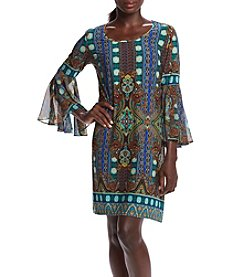 R&M Richards® Petites' Printed Sheer Bell Sleeve Dress