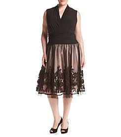 S.L. Fashions Plus Size Tuck Neck Lace Soutache Dress