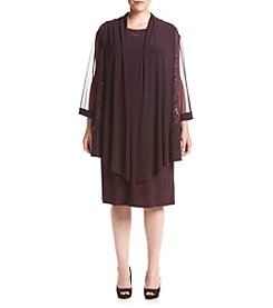 R&M Richards® Plus Size Long Sleeve Sheer Lace Panel Jacket Dress