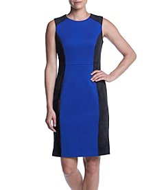 Calvin Klein Faux Suede Color Block Sheath Dress