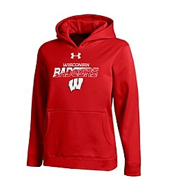 Under Armour® NCAA® Wisconsin Boys' 8-20 Logo Badgers Long Sleeve Hoodie