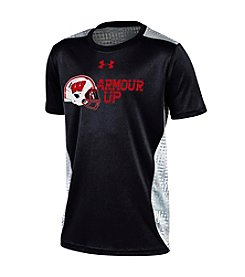 Under Armour® NCAA® Wisconsin Badgers Boys' 8-20 Football Helmet Raid Short Sleeve Tee