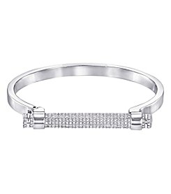 Swarovski® Silvertone Friend Bangle Bracelet