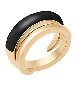 Michael Kors® Goldtone Black Acetate Ring