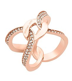 Michael Kors® Rose Goldtone Interlocking Pave Ring