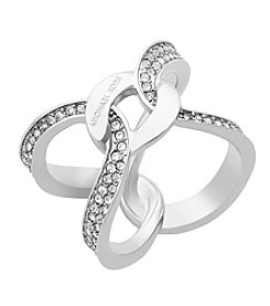 Michael Kors® Silvertone Interlocking Pave Ring