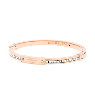 Michael Kors® Rose Goldtone Logo Pave Push Button