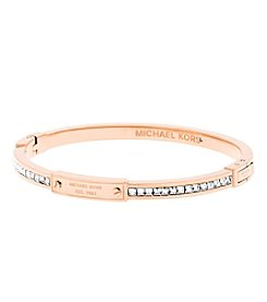 Michael Kors® Rose Goldtone Logo Pave Push Button Bracelet