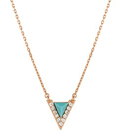 Lucky Brand® Delicate Rose Goldtone And Turquoise Pendant