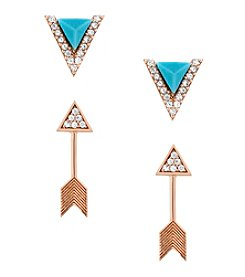 Lucky Brand® Rose Goldtone Delicate Arrow And Turquoise Earrings Stud Set