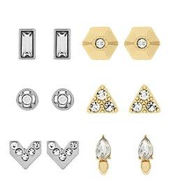 Jessica Simpson Two Tone Six Pack Stud Metal Earrings