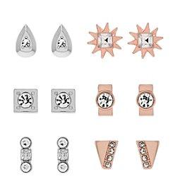 Jessica Simpson Two Tone 6 Pack Stud Metal Earrings