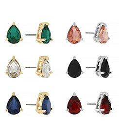 Jessica Simpson Two Tone 6 Pack Stud Color Earrings