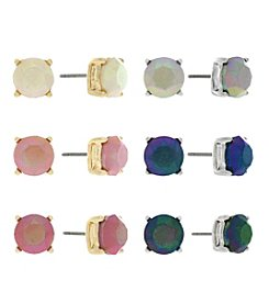 Jessica Simpson Two Tone Six Pack Stud Color Earrings