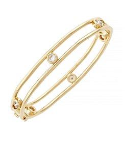 Jessica Simpson Goldtone Cubic Zirconia Oval Hinge Bracelet