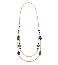 Erica Lyons® Goldtone In The Midnight Hour Long Double Chain Necklace