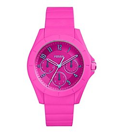 Fossil® Women's Poptastic Watch In Pink With Silicone Strap