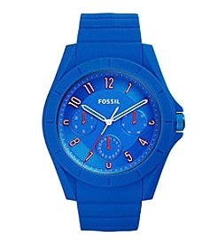 Fossil® Men's Poptastic Watch In Blue With Silicone Strap