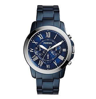 Fossil® Men's Silvertone Grant Watch In Blue With Three