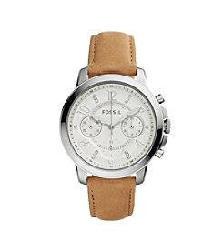 Fossil® Women's Gwynn Watch In Silvertone With Light Brown Leather Strap