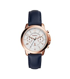 Fossil® Women's Gwynn Watch In Rose Goldtone With Blue Leather Strap